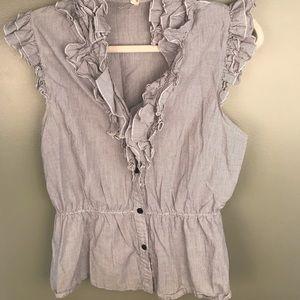 Lapis sleeveless striped ruffle blouse
